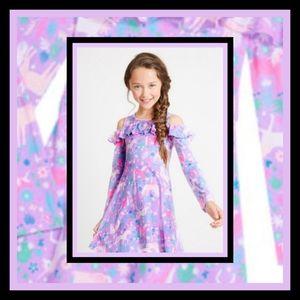 New! Fabkids Unicorn Cold Shoulder Dress